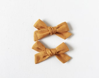 mustard jo hair bows, old gold schoolgirl bow, headband, hair clip
