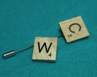 Scrabble Pins, Badge, Brooch