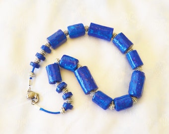 Deep blue large beads necklace with antique gold fish clasp made with recycled materials