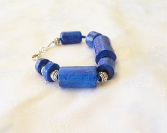 Large beads deep blue bracelet with vintage silver spacers made with recycled materials