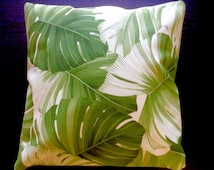 Monstera Canvas Pillow Cover Made in Hawaii Cushion Cover Tropical Covers 18x18 17x17 16x16 15x15 14x14 13x13 45x45 40x40 35x35 33x33
