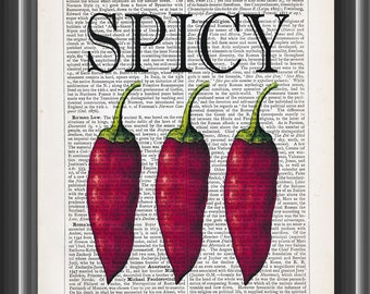 Spicy Red Chili Peppers Vegetable Upcycled Dictionary Art Print Vintage Print Wall Art Home Kitchen Decor