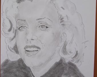 """dessin Portrait de star """"Marilyn Monroe"""" crayon graphite"""