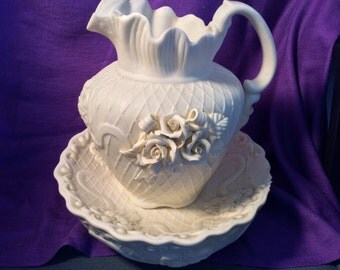 Cream colored Pitcher and bowl-Flowered design