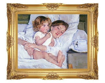 Framed Art Breakfast in Bed Mary Cassatt Canvas Print Painting Reproduction - Sizes Small to Large - M00579