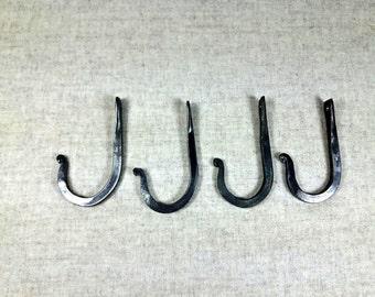 4 Hooks, forged Iron, wall peg