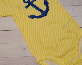 Flash Sale: Yellow and White with Blue Hand Stamped Anchor Baby Onesie - size 3-6 months