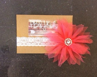 Coral Flower Head Band