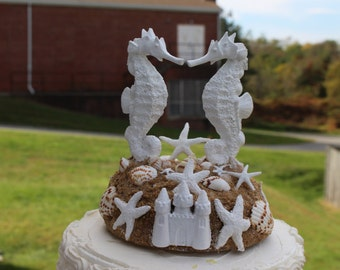 White Seahorse Cake Topper / Seahorse,starfish with castle topper /  Beach Wedding Cake Topper /