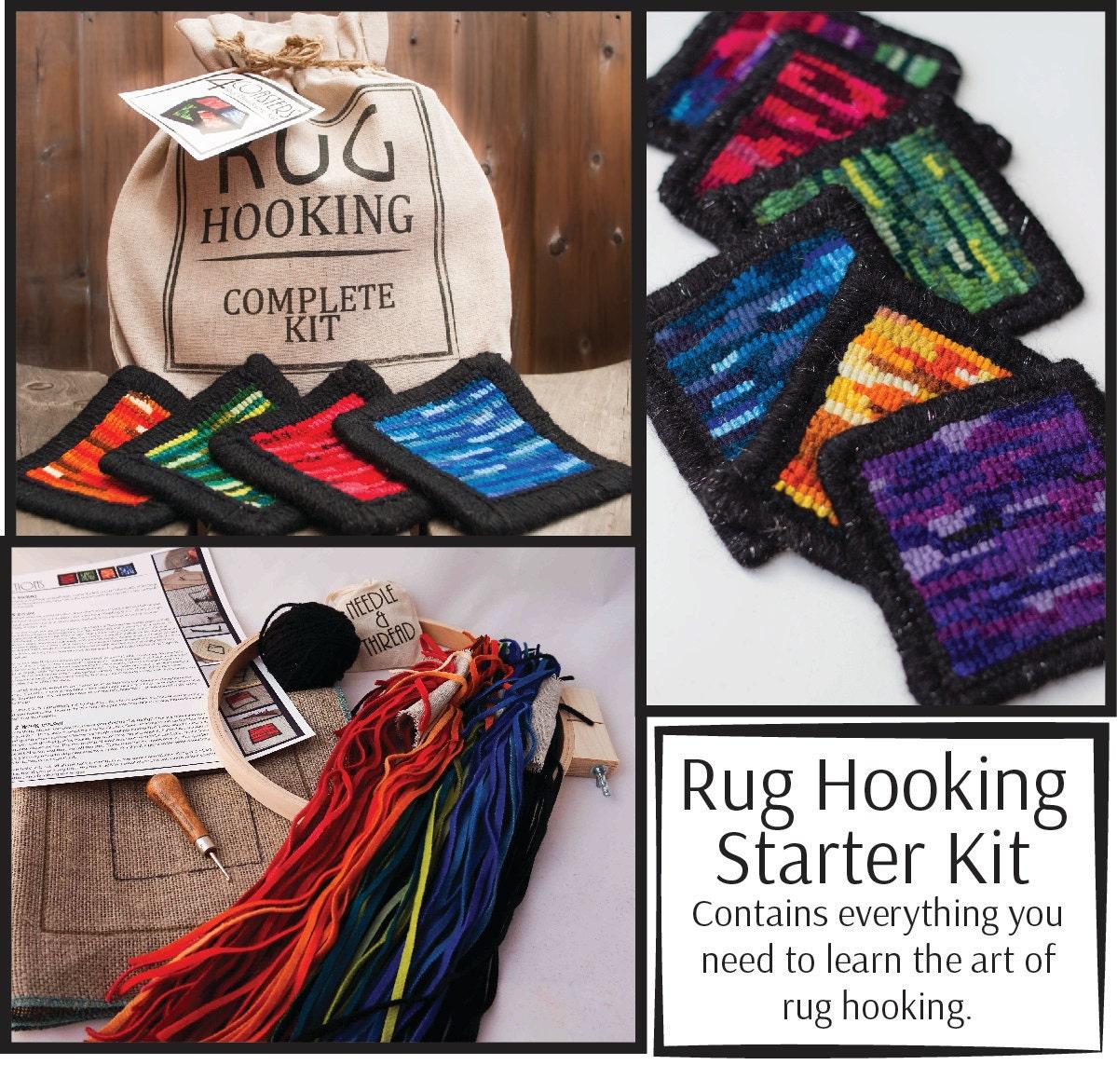 Rug Hooking Kit 4 Coasters Complete Kit: Wool Linen Hook