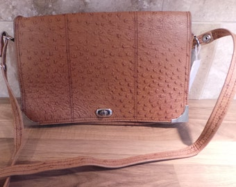 Vintage 70s Ostrich Leather Cross Body Bag