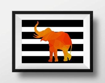 Elephant print, Elephant art,  Geometric print, Geometric art print, Instant Download
