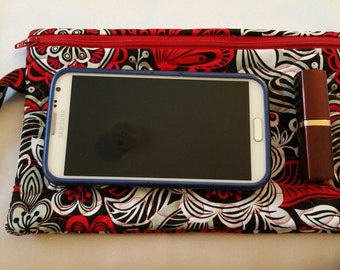 Quilted Cosmetic Bag, Wristlet, Red, black and White Floral, Wristlet, Cell Phone
