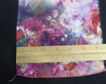 100% Silk Crepe de Chine Print - Digital Pink Blooms