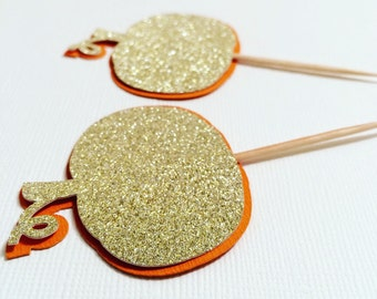 Set of 10 Gold Glitter Pumpkin Cupcake Topper- Pumpkin Party