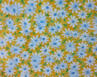 Yellow Fabric with Daisies by the yard