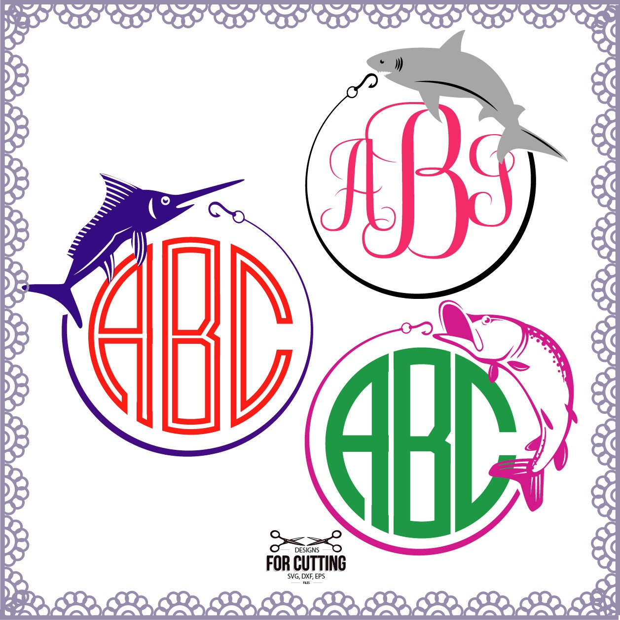 fishing monogram frames cut files svg dxf eps  cutting or