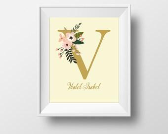 Monogram Custom Prints U/V/W/X/Y/Z, Personalized Initial Prints, Monogram Wall Art, Floral Prints, Nursery Art, Baby Shower Gift,PetiteFolio