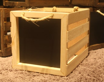 Rustic Wooden Crate with Chalkboards and Jute Rope Handles(Un-Finished)
