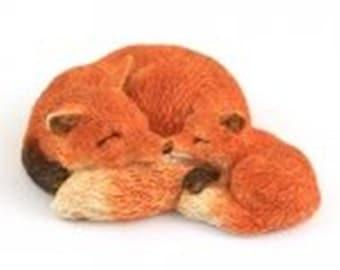 "3"" Mama Red Fox with Baby Fairy Garden Terrarium Dollhouse Miniature Decor"