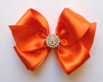 Large Double Orange Satin Bow with Crystal Bling