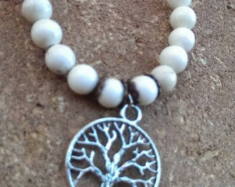 White Howlite Bracelet with Tree of Life Charm