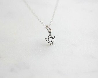 Silver Bird Necklace - Sterling silver Super Tiny Bird  necklace - Delicate necklace - Simple necklace - Charm necklace - Woodland Jewelry