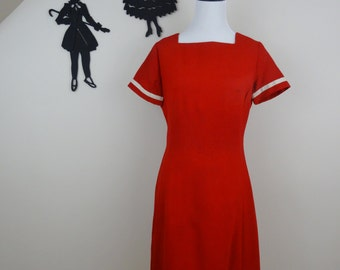 Vintage 1960's Red Wiggle Dress / 60s Sailor Day Dress M  tr