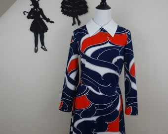 Vintage 1970's Mod Dress / 70s Abstract Dress M