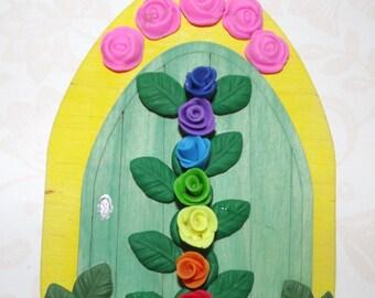Fairy Door. rainbow door, chakra, faery door, elf door, gnome door, healing room, fairy house, fairy accessories, whimsical, whimsy, fairy