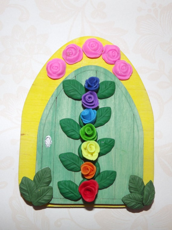 Fairy door rainbow door chakra faery door elf door gnome for Rainbow fairy door