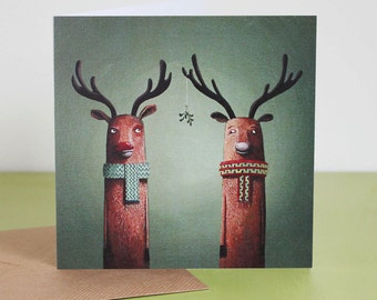 Christmas Reindeer - 'Mistletoe' - Hand drawn card