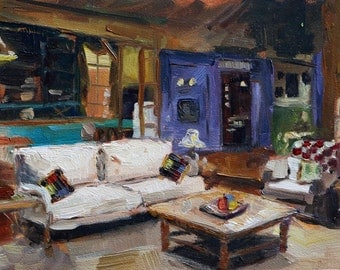 """Small painting, interior """"Happy place"""", friends, oil on gessobord 5x7 inch"""