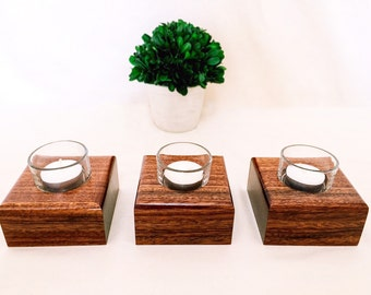 Luxury Candle Holders - Set of 3 - Anniversary Gift - Gift for Her - Candle Set - Wood Gift - 5 Year Anniversary - Gift for Her