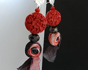 Textile Earrings Fabric Earrings Red Earrings Fabric Jewelry Gift for her Red Long Earrings