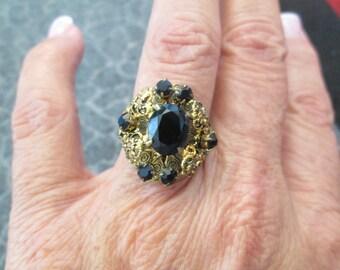 Czechoslavokian Black Glass ring, vintage 1960's, adjustable, Unique