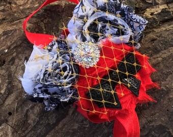 Black, White And Red Shabby Chic Headband, Shabby Chic  Headband, Vintage  Headband, Flower  Headband