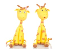 Giraffe Couple Cake Topper. Handmade in Cold Porcelain. Birthday / Wedding