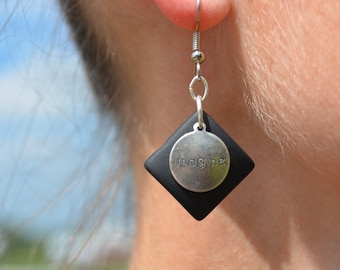 Black Recycled Glass Inspirational Earrings