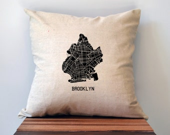Brooklyn New York Map Pillow Cover, 18 x 18, NYC Map, Brooklyn Pillow, NYC Pillow, Brooklyn Map, Brooklyn Art, NYC Print