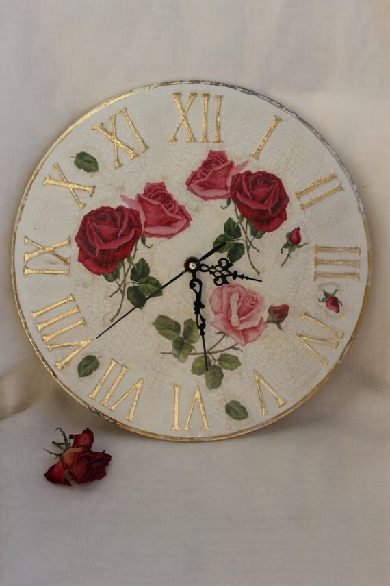 wall clock shabby chic large wall clock roses by
