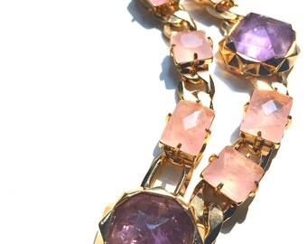 Amethyst and Rose Quartz gold chained necklace