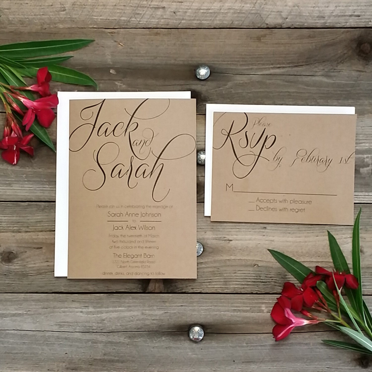 PRINTED Country Rustic Wedding Invitation Package Printed