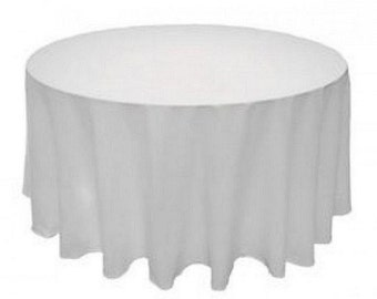 """White 90"""" Round Seamless Polyester Tablecloth For Wedding Restaurant Banquet Party Decorations"""