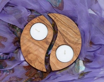 Yin Yang Candle Holder, olive wood