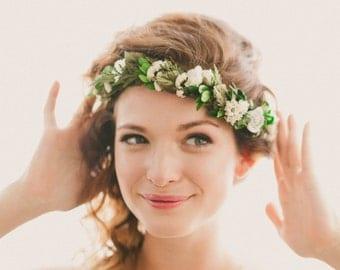 Bridal headpiece, Boho woodland hair wreath, Floral circlet, flower crown, Floral headpiece, Woodland wedding head piece, Green leaf circlet