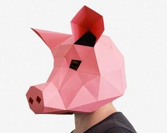 Pig Mask, DIY printable Animal Head, Instant Pdf download, DIY New Year Mask, Printable Mask, 3D Pattern, Polygon Masks