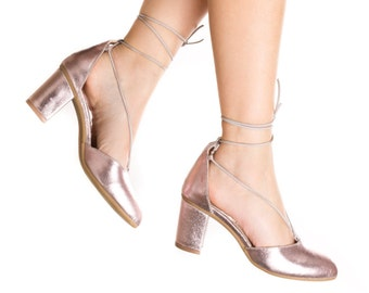 Sale! Silver Pink Heel Shoes. 20% OFF. Ankle Strap Heel Shoes - Pink Pumps - Handmade by ImeldaShoes