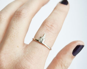 Fire Ring, Flame Ring, Simple Ring, Fire Sign Ring, Thin Stacking Ring, Unique Ring, Thin Sterling Silver Ring, 14K Gold Ring, Gift for her