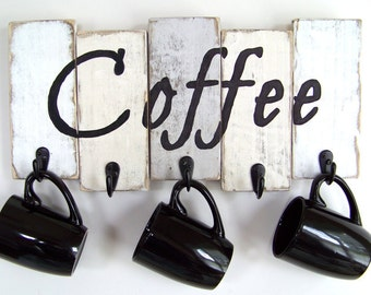 Coffee Cup Holder, Kitchen Storage, Coffee Mug Holder, Mug Rack, Rustic Décor, Housewarming Gift, Kitchen Decor, Custom orders welcome!